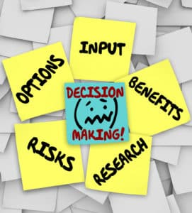 Decision Making words on sticky notes surrounded by things to co