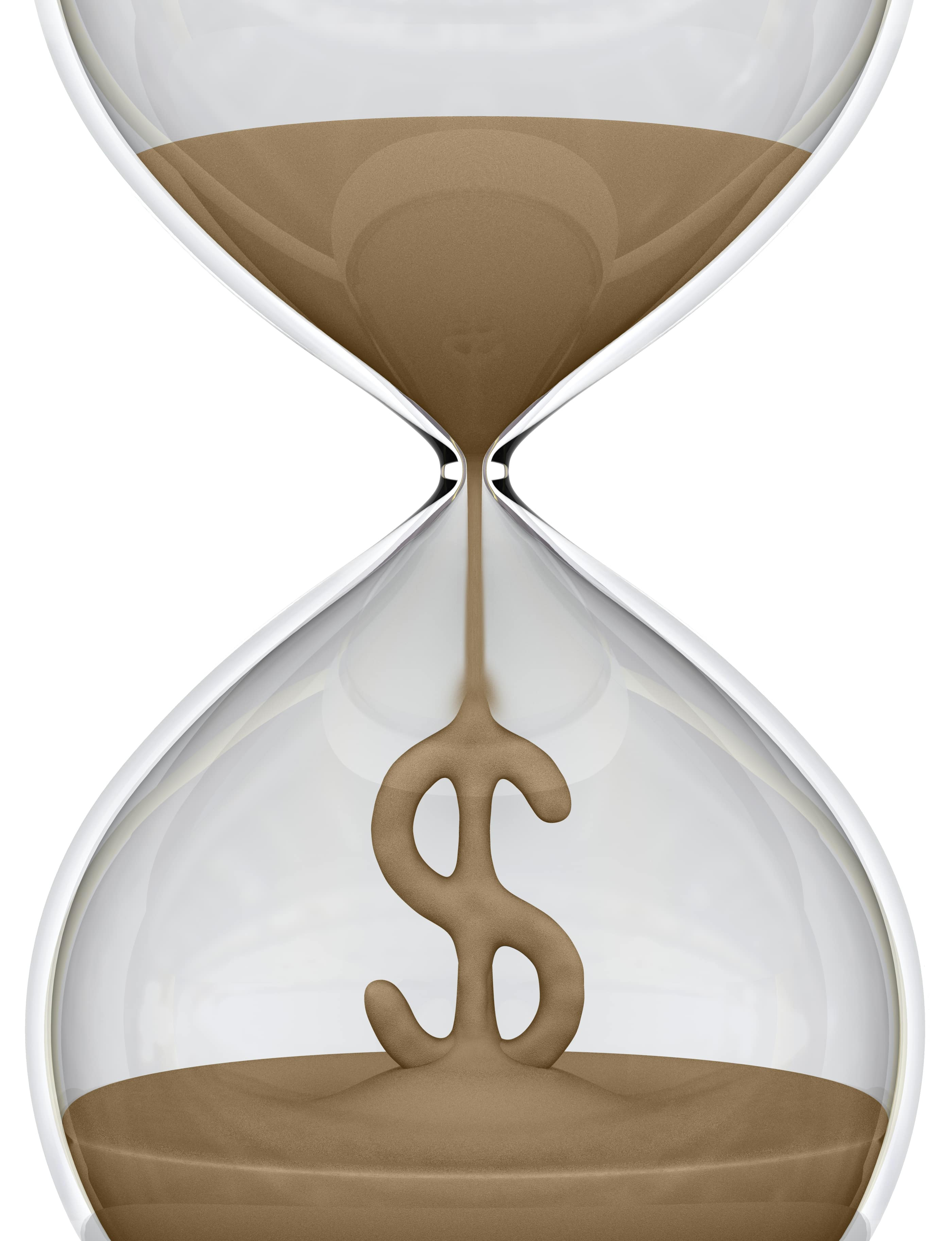 hourglass with money sign