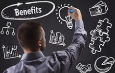 Technology internet business and marketing. Young business man writing word: Benefits