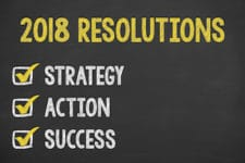 Resolutions 2018 on Chalkboard new year working