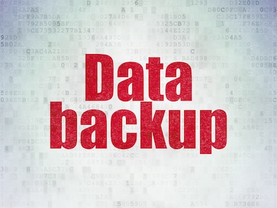 Data concept: Painted red word Data Backup on Digital Data Paper background