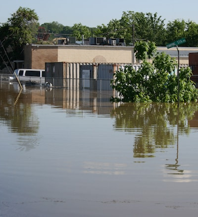Storm floods Nashville streets and businesses causing damage.