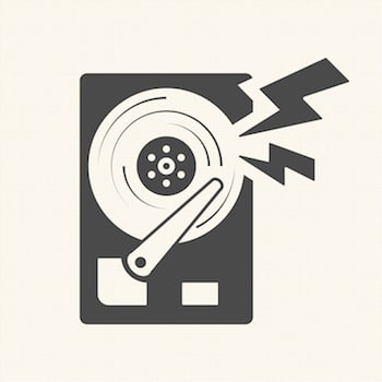 Damage the data Hard disk scratch icon. Vector design
