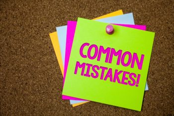 Text sign showing Common Mistakes Motivational Call. Conceptual photo lot of people do same action in wrong way Postcards various colour brown background lovely thoughts message memories