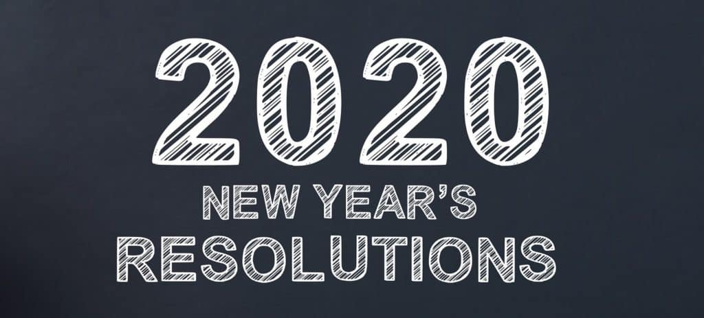 2020 New Years Resolutions written on a blackboard