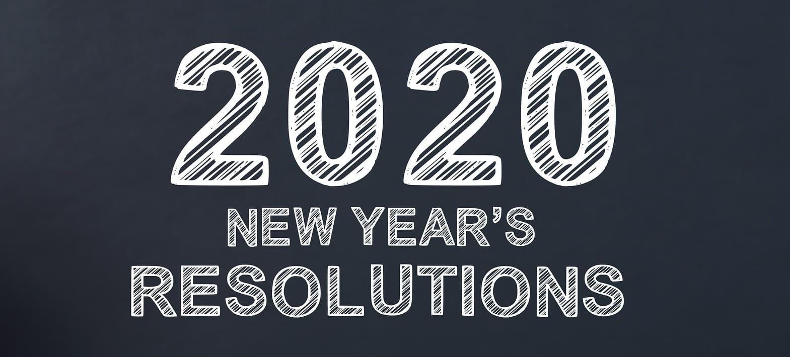 2020 New Years Resolutions written on a blackboard