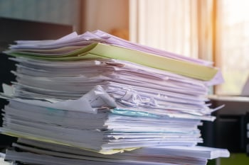 Piled heap high recycle documents folders, Stack business paper on desk messy or paperwork in office. Old Document achieves in print folder doc forms, use recycling for save